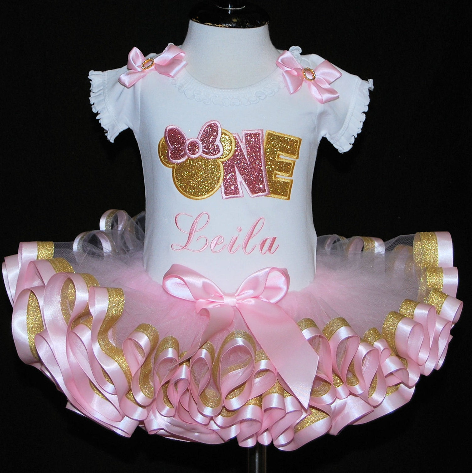 pink and gold minnie mouse birthday outfit,  pink and gold birthday tutu, ribbon trimmed tutu, first birthday tutu dress, 1st birthday tutu