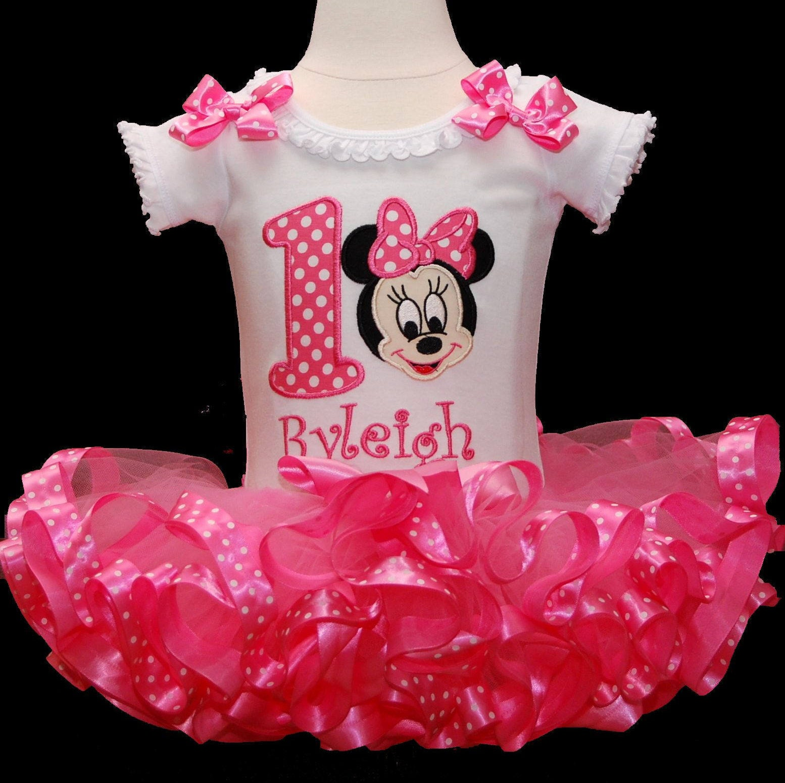Minnie Mouse 1st Birthday Tutu Outfit, Baby Minnie Mouse tutu outfit, 1st birthday girl, cake smash outfit, birthday tutu dress. ribbon trim