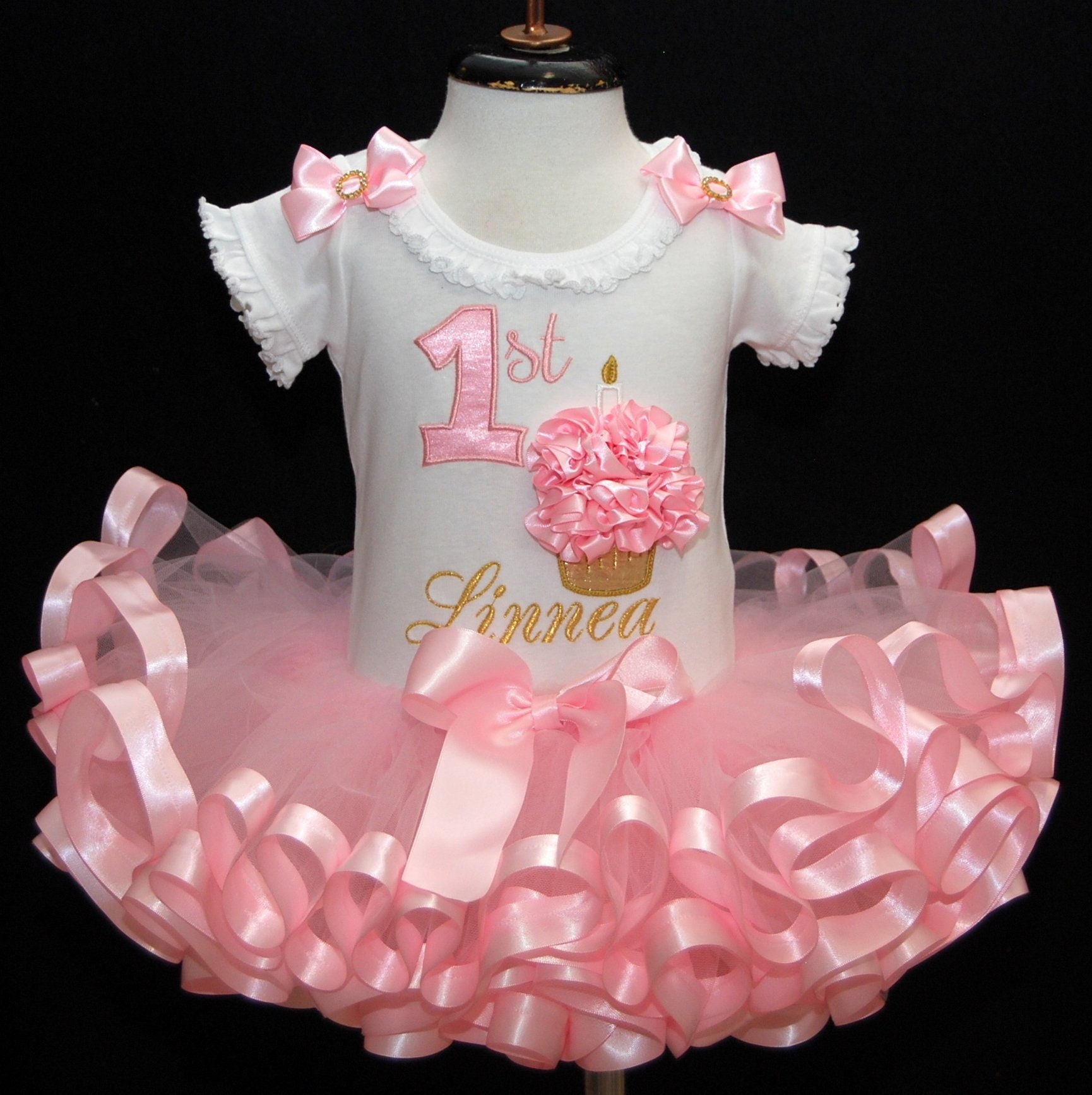 Pink and Gold Birthday Dress with 3D Ribbon Cupcake, baby girl 1st birthday outfit, personalised onesie, 1st Birthday girl outfit, tutu