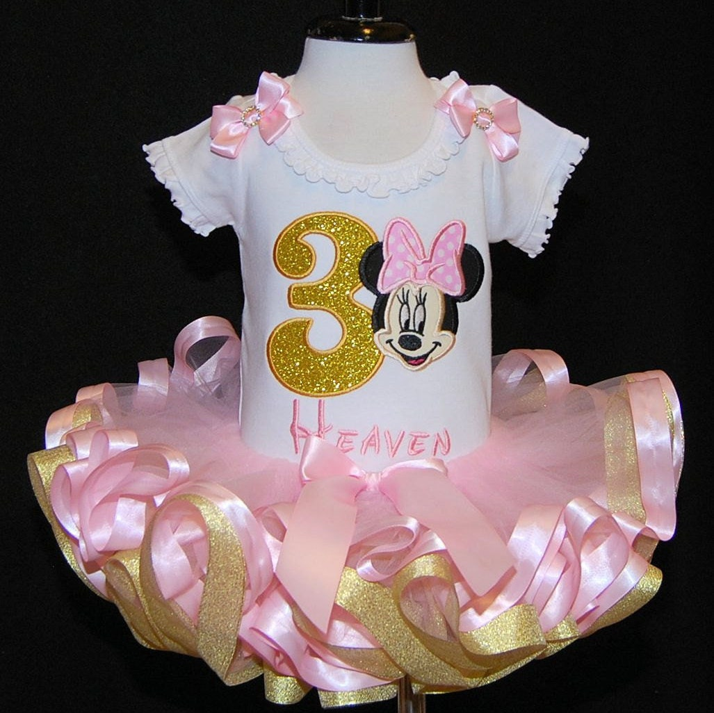 3rd  Birthday Tutu Pink and Metallic Gold Minnie Mouse Birthday Tutu Outfi  2 pieces ruffled tutu, pink and gold 3 yr old tutu birthday set