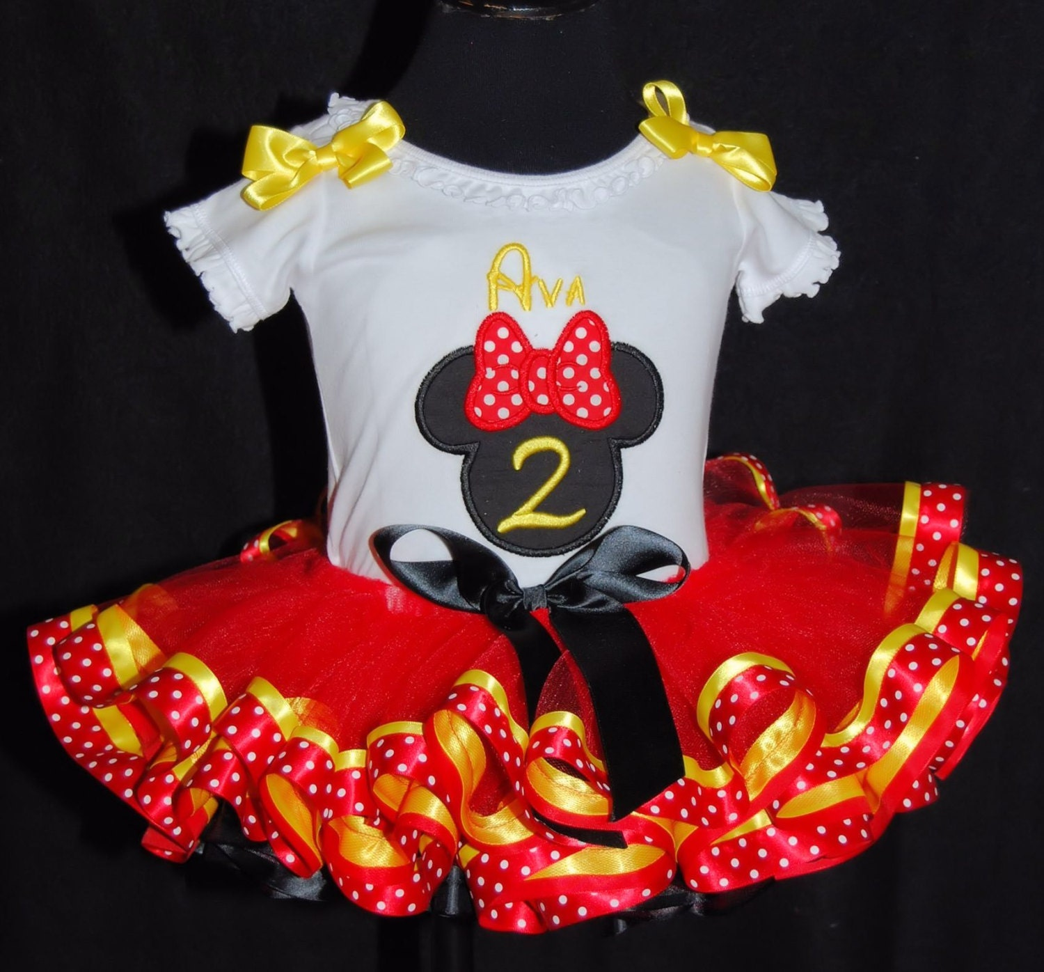 2nd birthday outfit girl, tutu for 2 year old, Minnie Mouse birthday, toddler tutu dress, second birthday outfit, ribbon trimmed tutu.