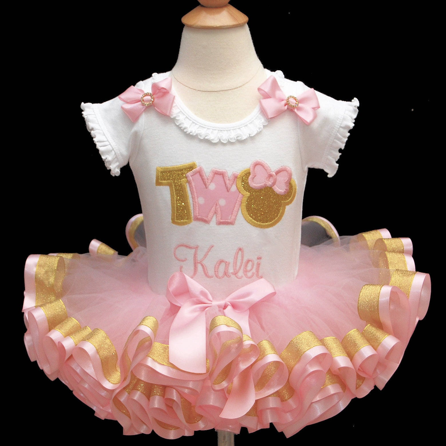 Pink and Gold Minnie Mouse 2nd Birthday outfit, pink and gold tutu outfit,  word two birthday outfit, minnie birthday outfit, tutu dress,