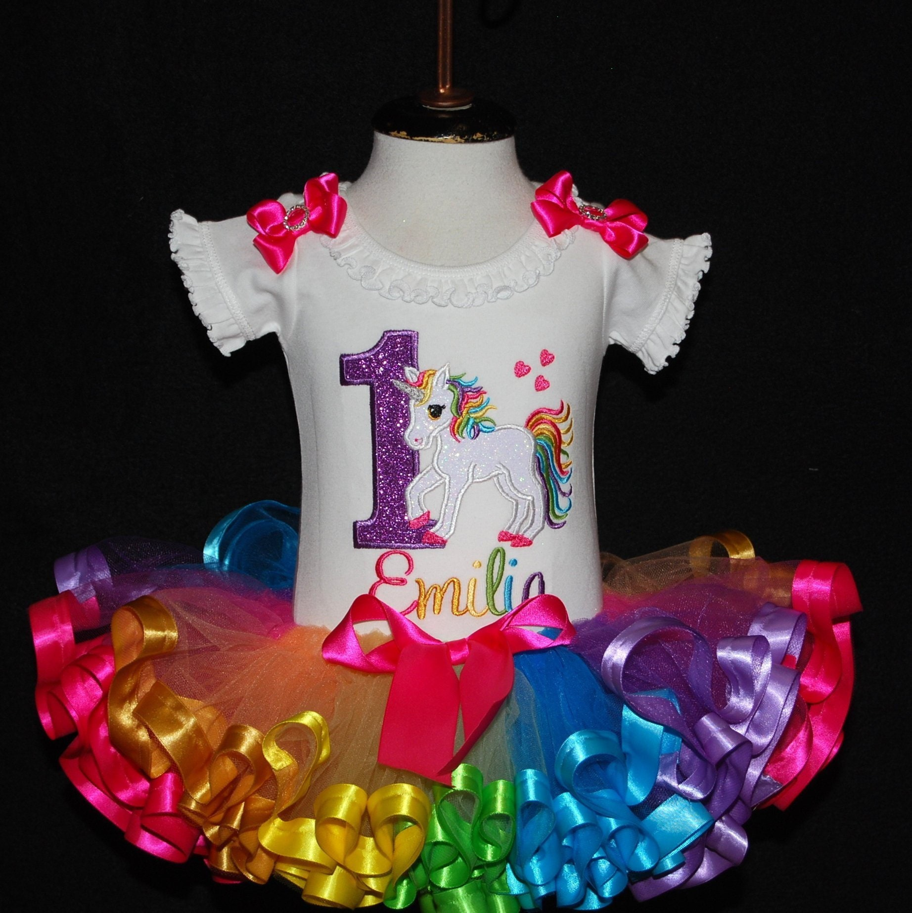 1st birthday girl outfit, unicorn birthday outfit candy colored tutu