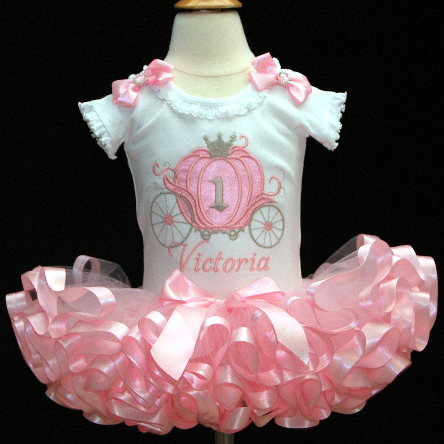 1st birthday girl outfit, Cinderella Carriage pink