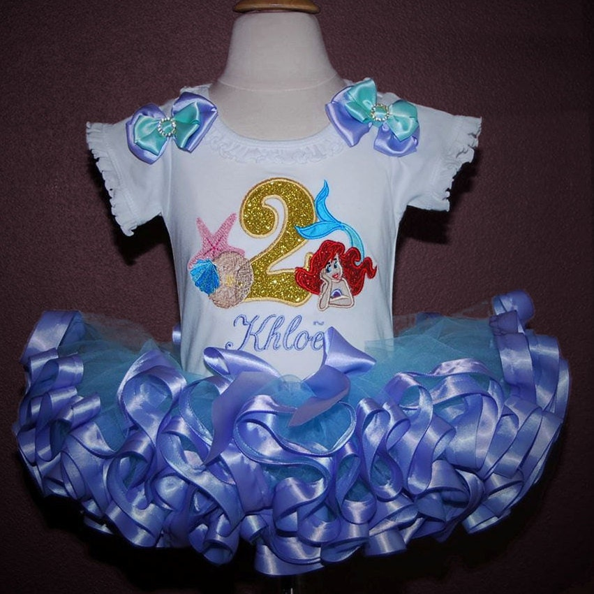 mermaid 2nd birthday outfit, Little Mermaid birthday outfit Ariel shirt personalised second birthday girl outfit cake smash outfit girl tutu