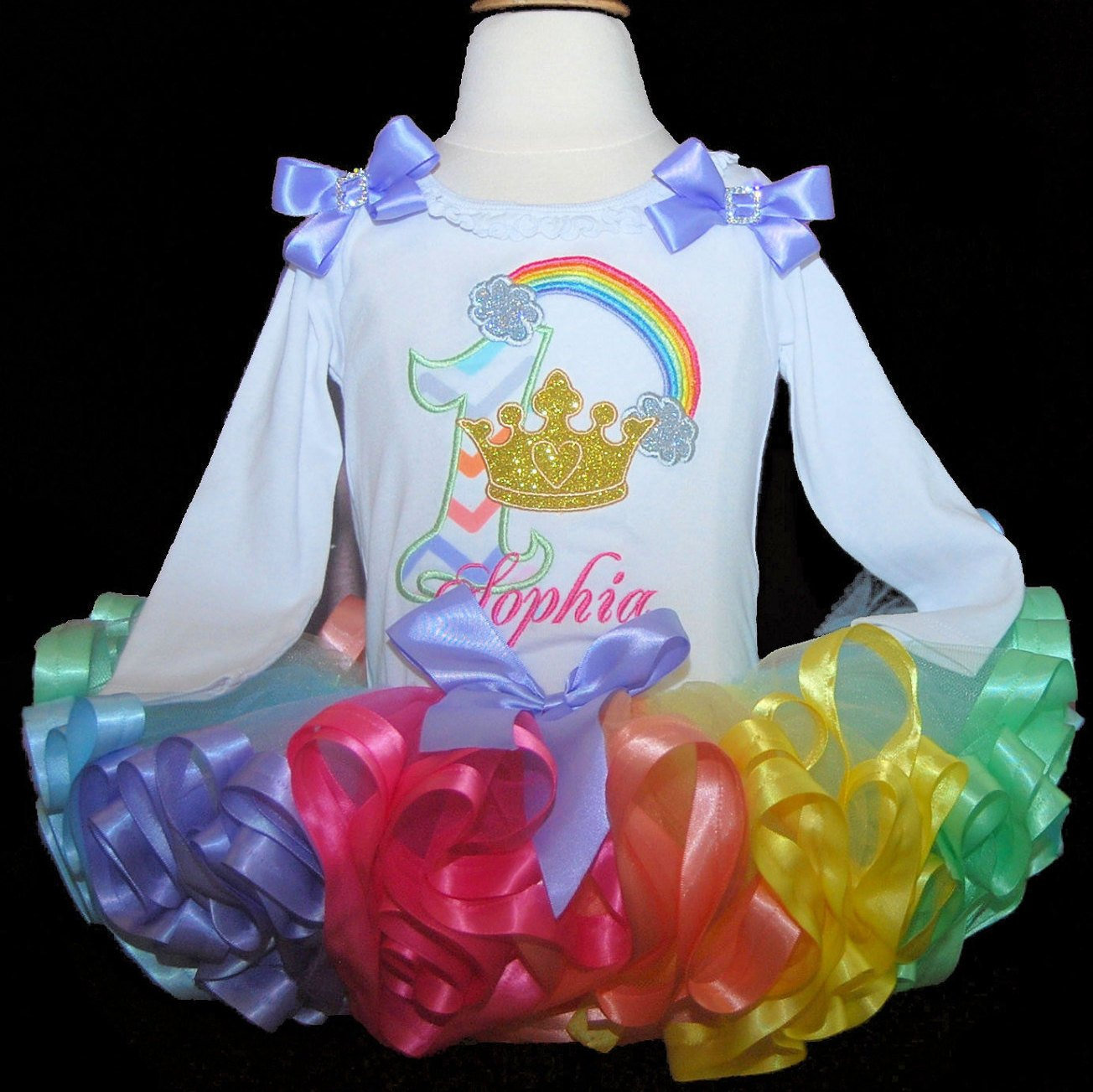 1st birthday outfit Princess Rainbow Tutu set, 1st Birthday girl outfit, gold glitter crown, princess tutu dress, custom made birthday dress