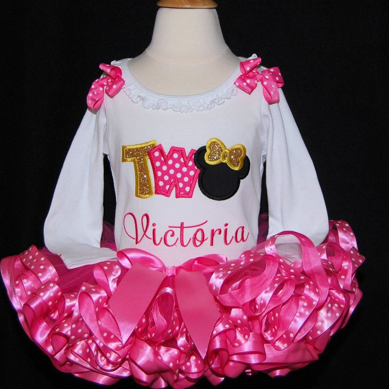 Minnie Mouse 2nd birthday outfit 2nd birthday girl outfit  minnie mouse 2nd birthday outfit ribbon trimmed tutu personalized toddler tutu