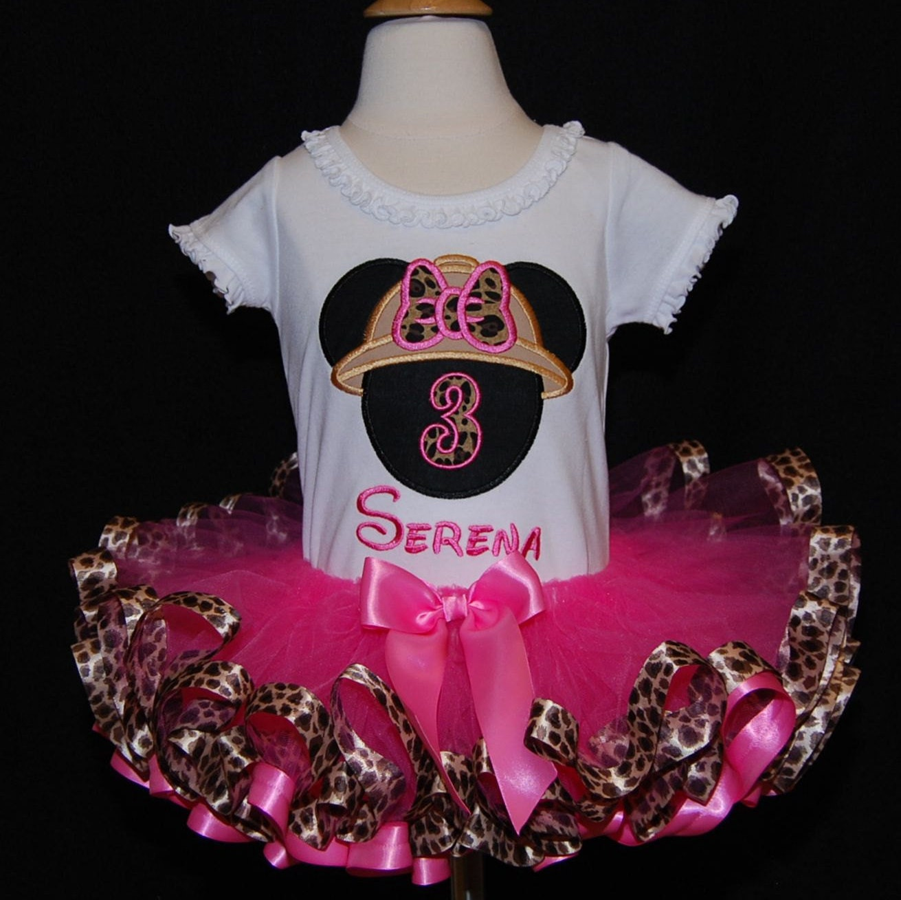 Minnie Mouse Safari  Birthday Tutu Outfit with Leopard Ribbon Trimmed Tutu, 3rd Birthday Tutu Outfit  2 pc Minnie Mouse Birthday Dress
