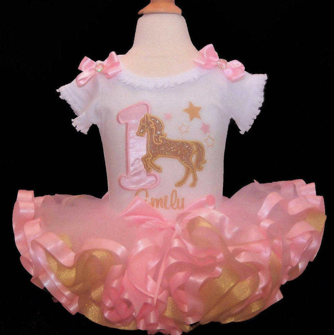 1st birthday girl outfit, gold glitter horse with stars