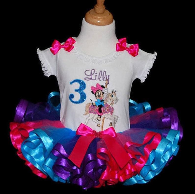 72809e036 Minnie Mouse birthday tutu outfit ribbon trim carousel horse | Etsy