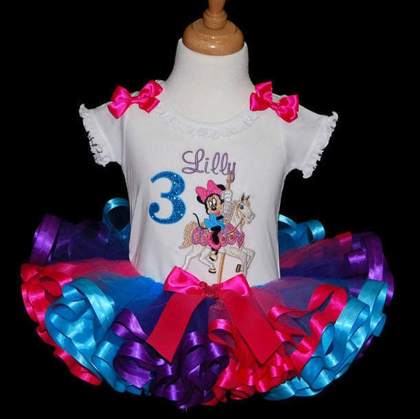 Minnie Mouse birthday tutu outfit ribbon trim carousel horse birthday tutu outfit 3rd birthday dress personalized birthday shirt embroidered