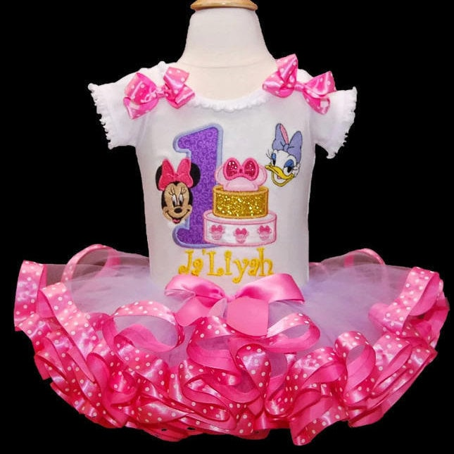 Minnie Mouse Birthday outfit, Minnie Mouse and Daisy Duck, 1st birthday girl outfit, tutu dress personalized Minnie and Daisy birthday tutu