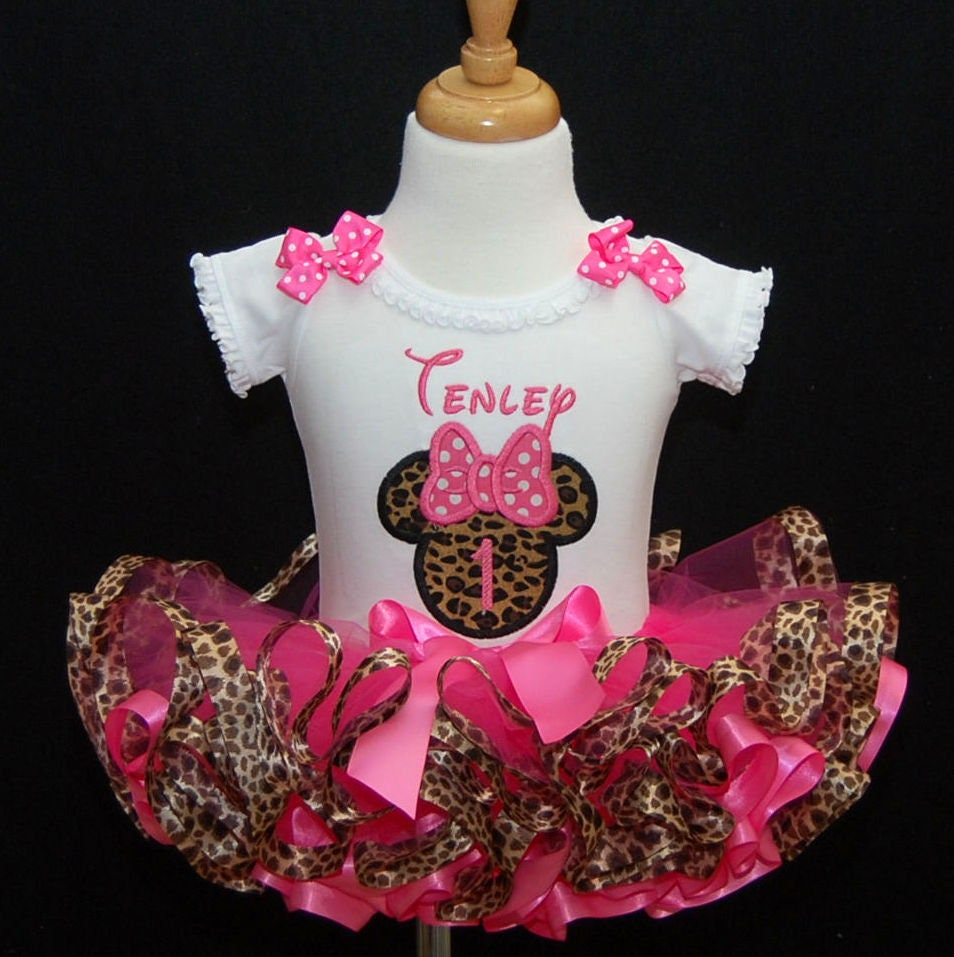 1st birthday girl outfit, Minnie Mouse Icon Leopard and pink