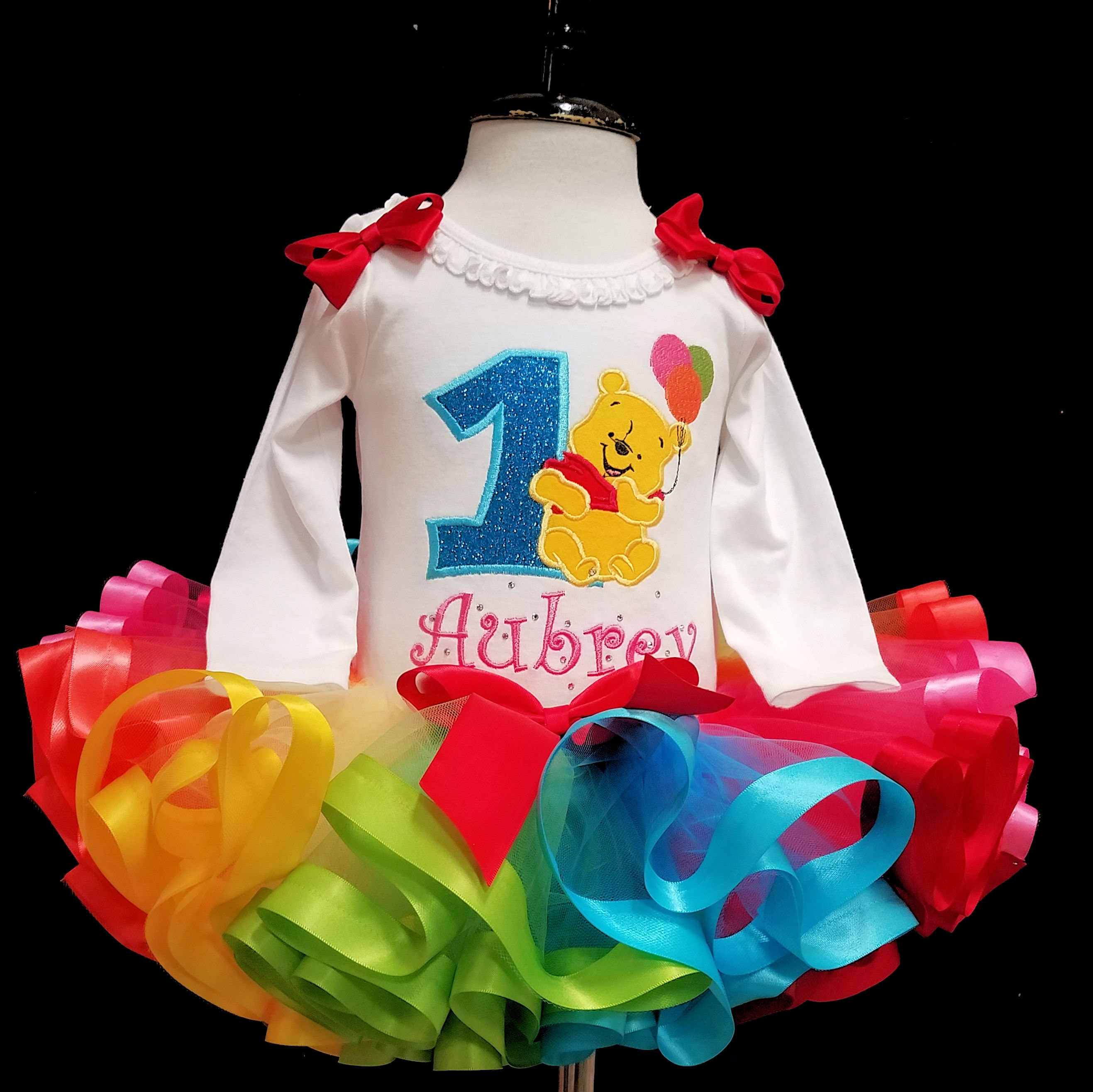 rthday girl outfit,  Baby Pooh Bear, first birthday rainbow tutu dress