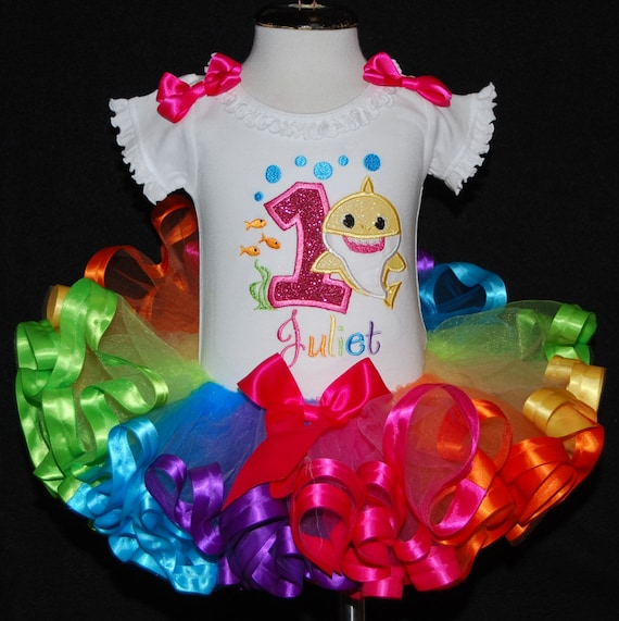 Baby Shark 1st Birthday Girl Tutu Dress Baby Girl Personalized 12 and 18 Months