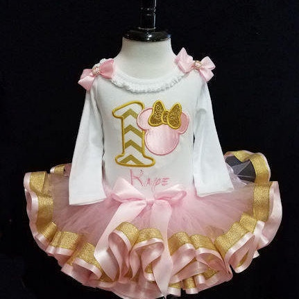 1st Birthday Tutu Pink and Metallic Gold Minnie Mouse First Birthday Tutu Outfit pink & gold 2 pieces, 1st Birthday Tutu Set Long Sleeve