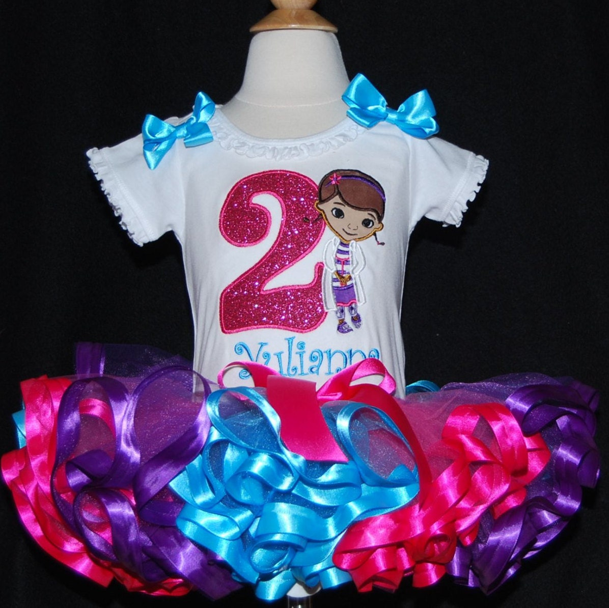 2nd birthday outfit girl, doc mcstuffins birthday tutu outfit, 2nd birthday girl outfit, toddler tutu,  tutu dress personalized ribbon trim