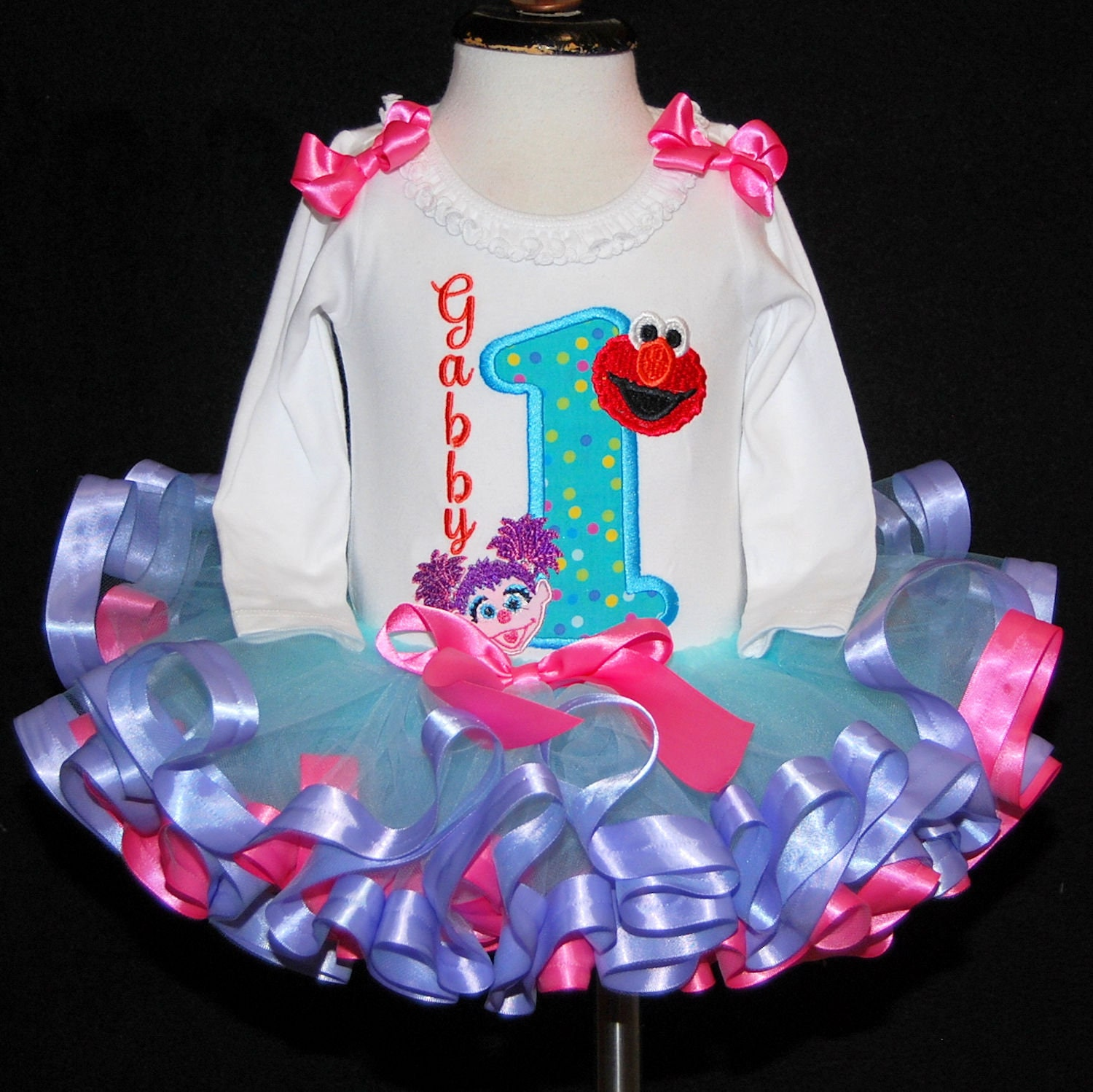 1st birthday girl outfit, Sesame Street birthday, Elmo and Abby1st Birthday Outfit, first birthday outfit girl, elmo birthday dress, Muppets