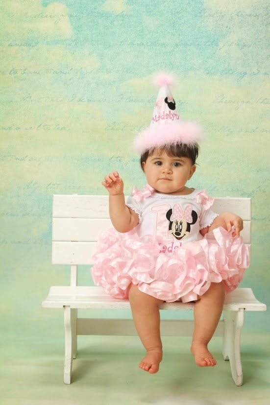 5 piece Adorable Minnie Mouse Birthday Outfit,  Light Pink  Set includes Top and Ribbon Trimmed Tutu  bloomers party hat & hair bow