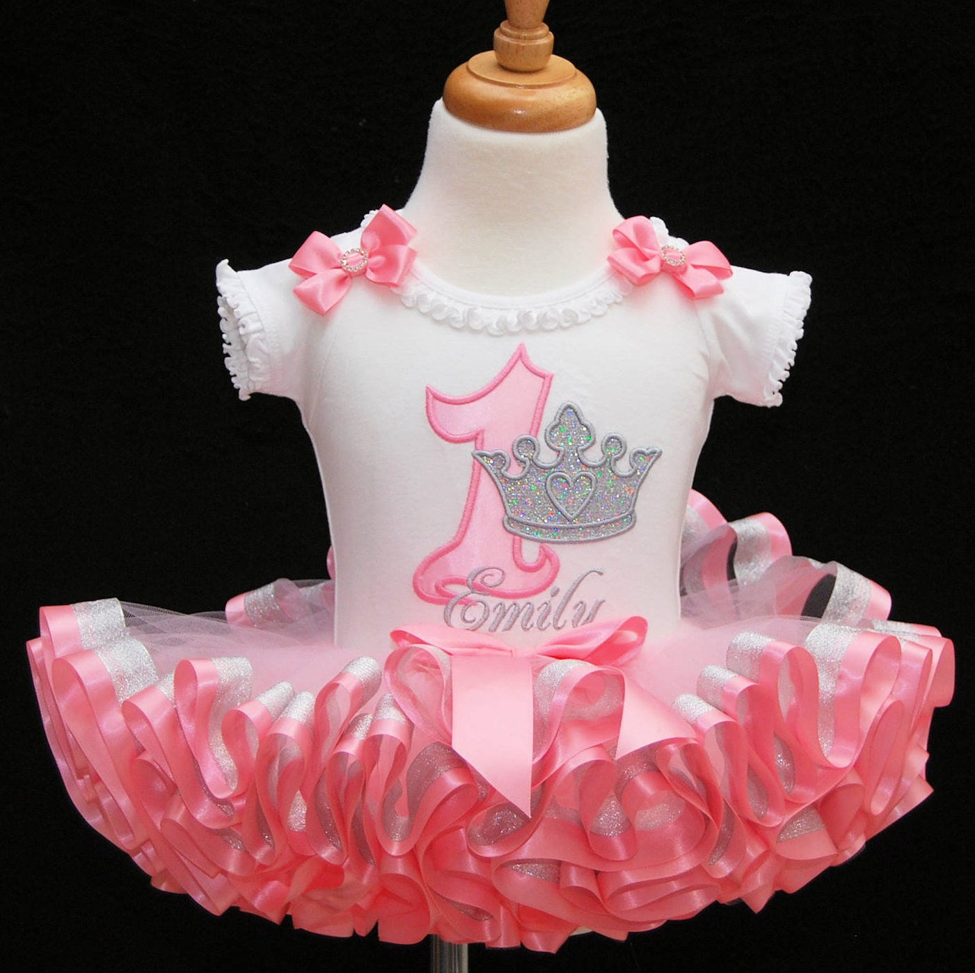 1st birthday outfit girl princess outfit glitter crown pink and silver