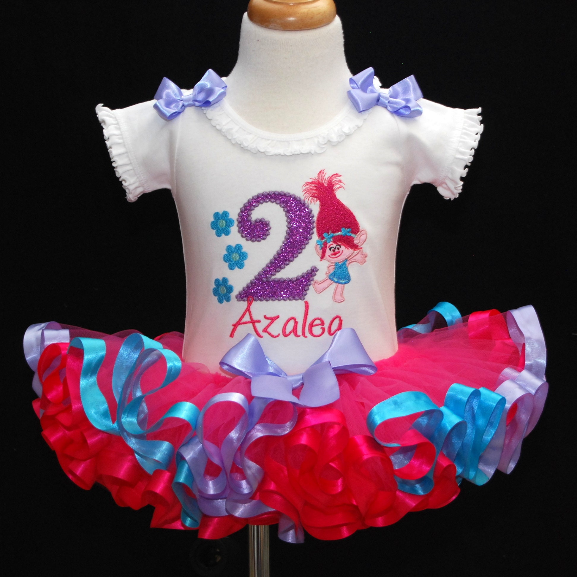 2nd birthday outfit girl, poppy troll second birthday tutu dress with ribbon trimmed tutu and embroidered onesie. Personalized shirt