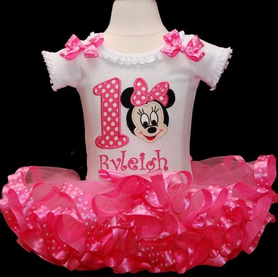 Baby Mädchen 1 Geburtstag Outfit Minnie Mouse 1 Geburtstag Etsy