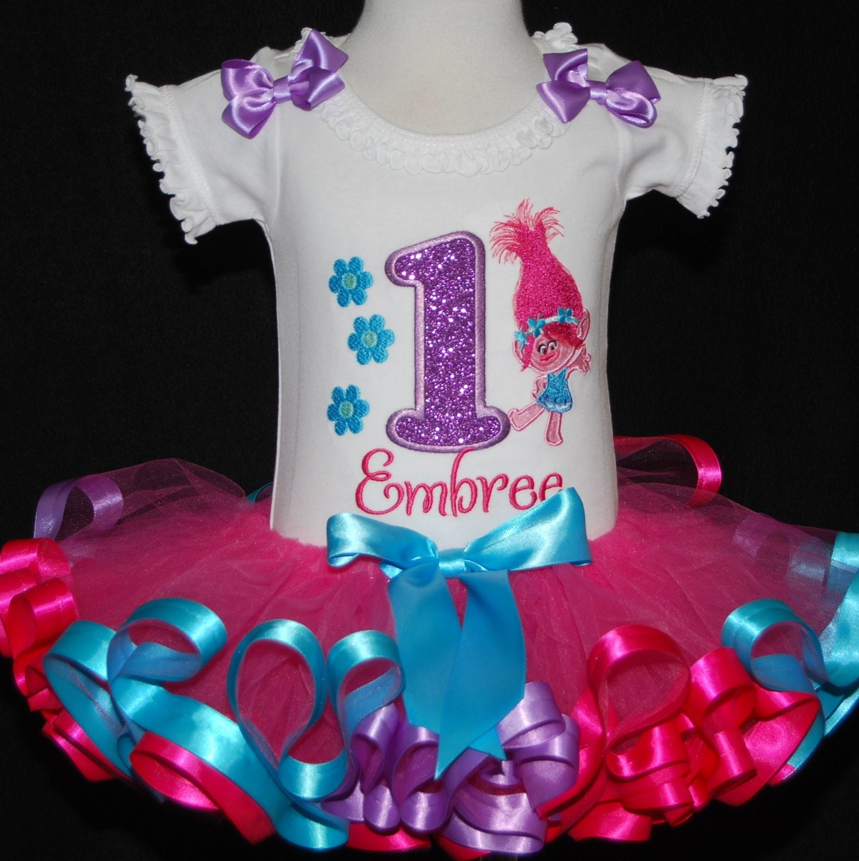 1st birthday girl outfit, troll birthday outfit, Poppy Troll tutu dress, ribbon trim tutu, embroidered onesie. Personalized shirt, trolls