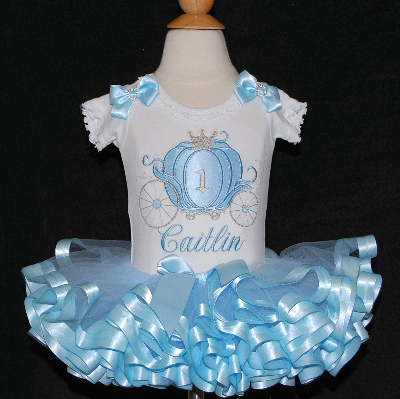 Princess 1st Birthday Tutu Outfit Blue and Silver ribbon trim tutu 1st birthday princess tutu dress Cinderella birthday tutu outfit baby 1st
