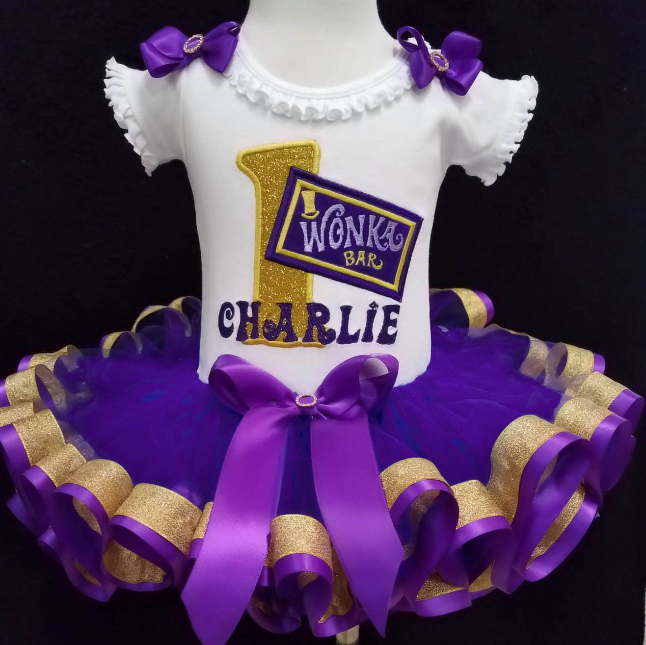 1st birthday  outfit Wonka bar