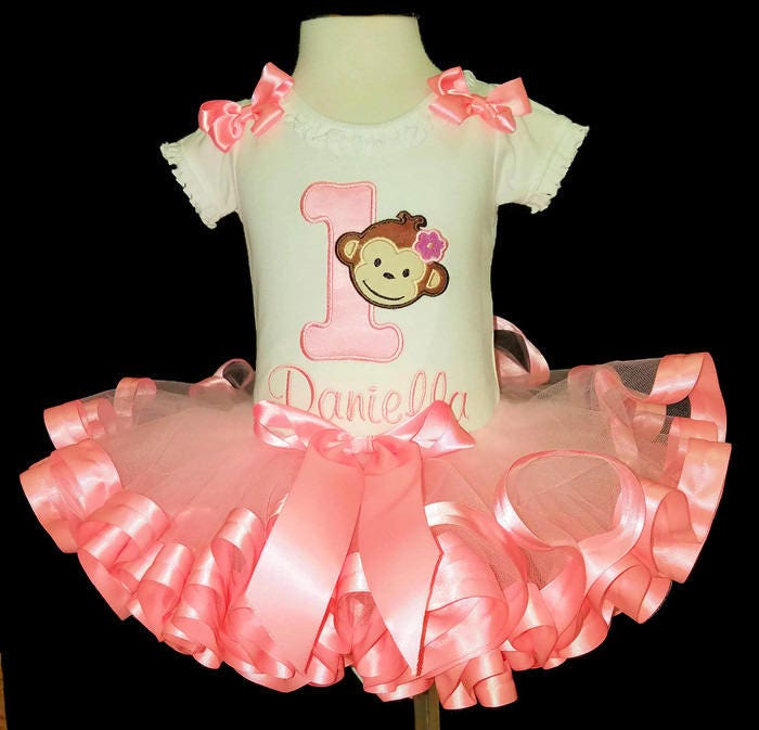 baby girl 1st birthday outfit, personalised smash cake outfit, first birthday outfit girl, mod monkey 1st birthday, tutu dress, ribbon tutu