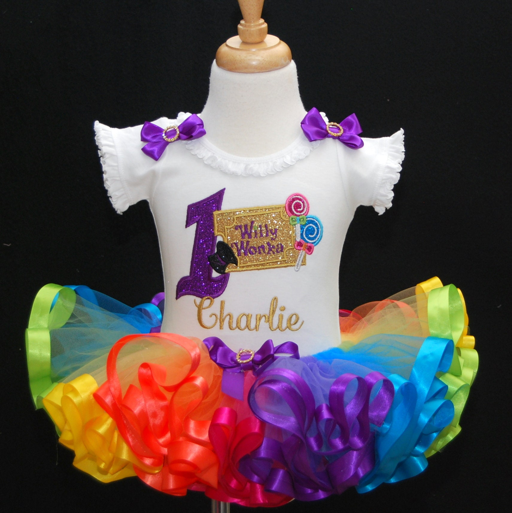Willie Wonka style 1st birthday outfit with rainbow tutu