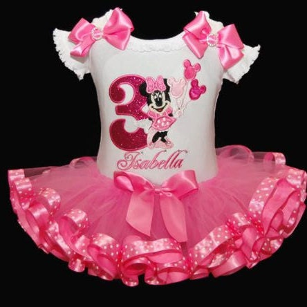 Minnie Mouse Birthday Tutu Outfit 3rd birthday dress tutu outfit ribbon trim tutu birthday outfit girl tutu dress Minnie Mouse birthday tutu