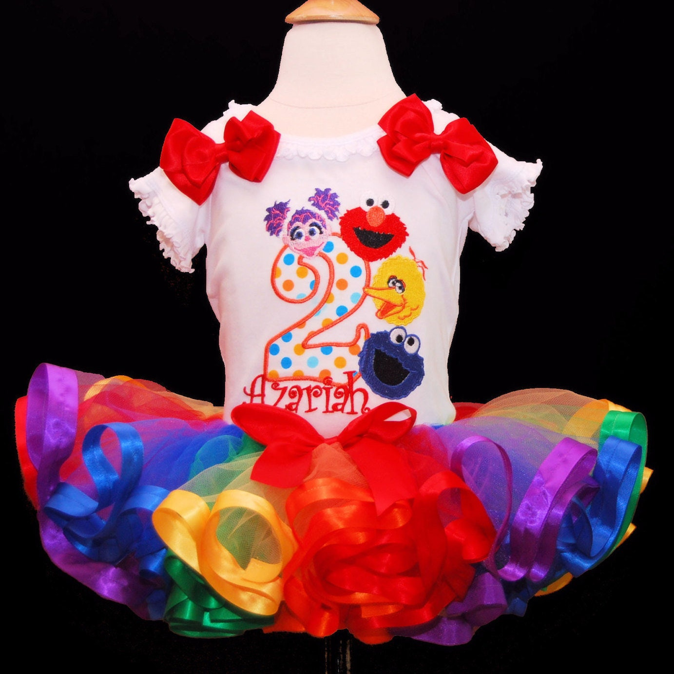 Elmo birthday outfit, 2nd Birthday outfit girl, Sesame Street birthday outfit smash cake outfit girl, rainbow tutu, personalised shirt