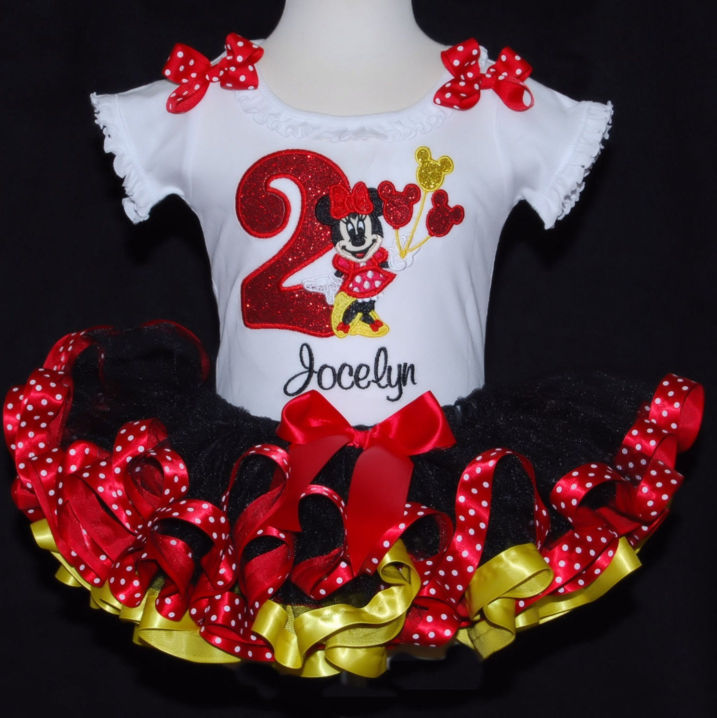 Sparkle Minnie Mouse 2nd Birthday Tutu Outfit Platinum Collection  Red, Yellow & Black 2 pieces top and tutu only