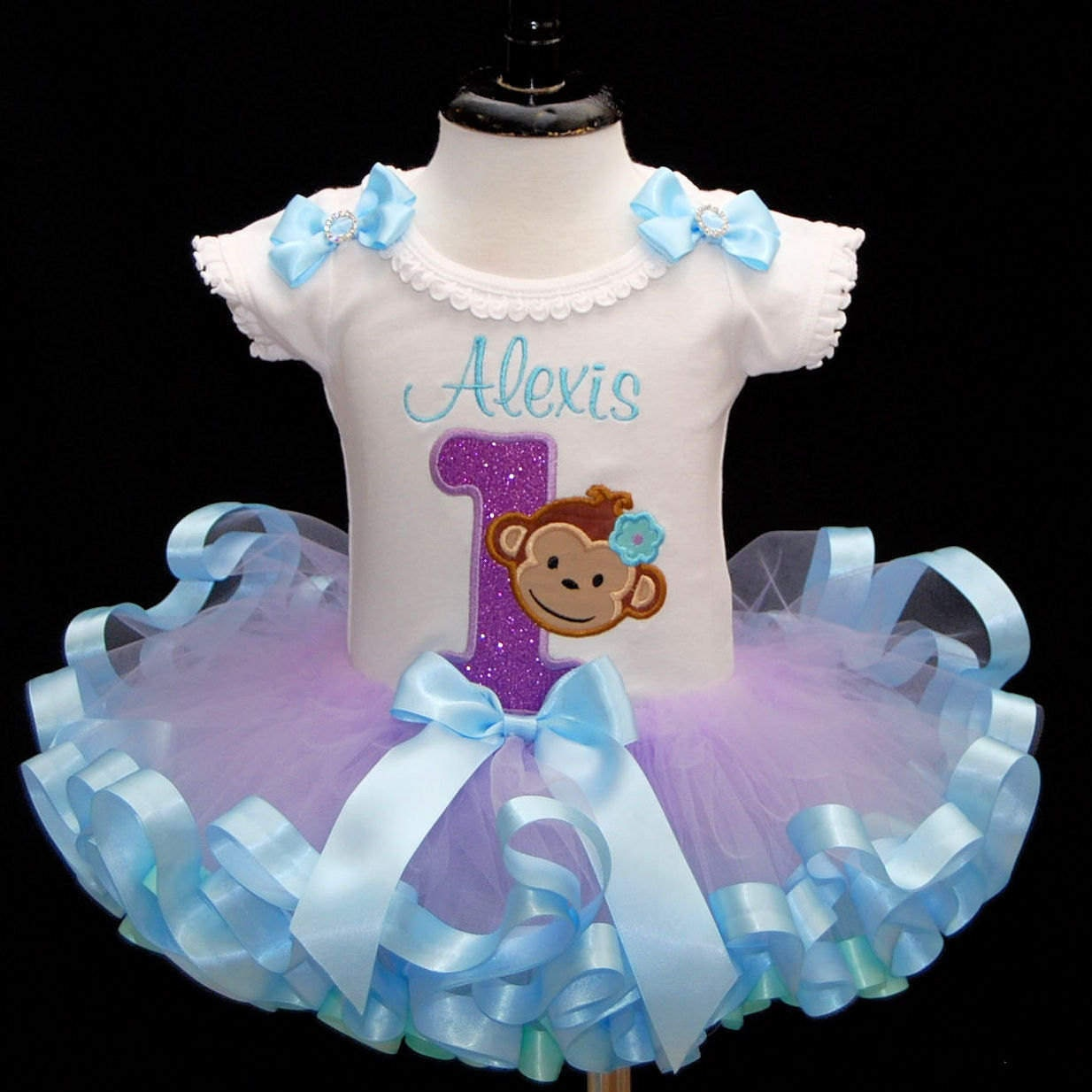 baby girl 1st birthday outfit, mod monkey 1st birthday smash cake outfit, personalized, first birthday outfit girl, ribbon tutu, tutu dress