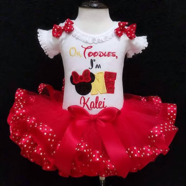 oh toodles birthday outfit toodles embroidery design oh toodles I'm one little girl's first birthday dress minnie mouse birthday outfit tutu