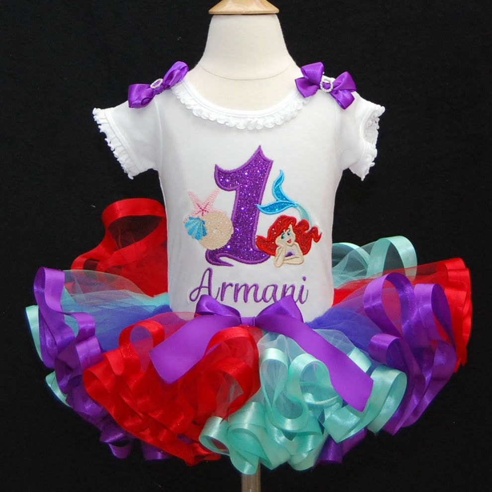 little mermaid birthday tutu outfit 1st birthday girl Ariel shirt personalized first birthday cake smash outfit birthday tutu dress tutu set