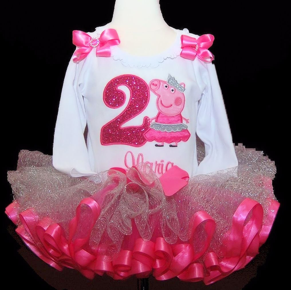 2nd birthday tutu outfit peppa pig, second birthday girl outfit, custom made personalized birthday shirt, toddler tutu dress, birthday dress