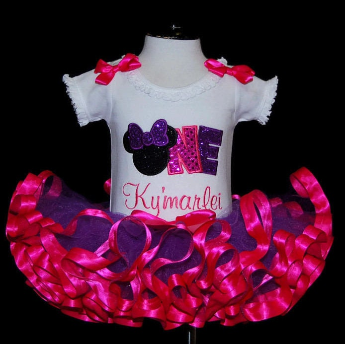 1st birthday outfit tutu, minnie mouse tutu outfit, cake smash outfit, birthday tutu outfit, ONE, sparkle glitter fabric, ribbon trimmed