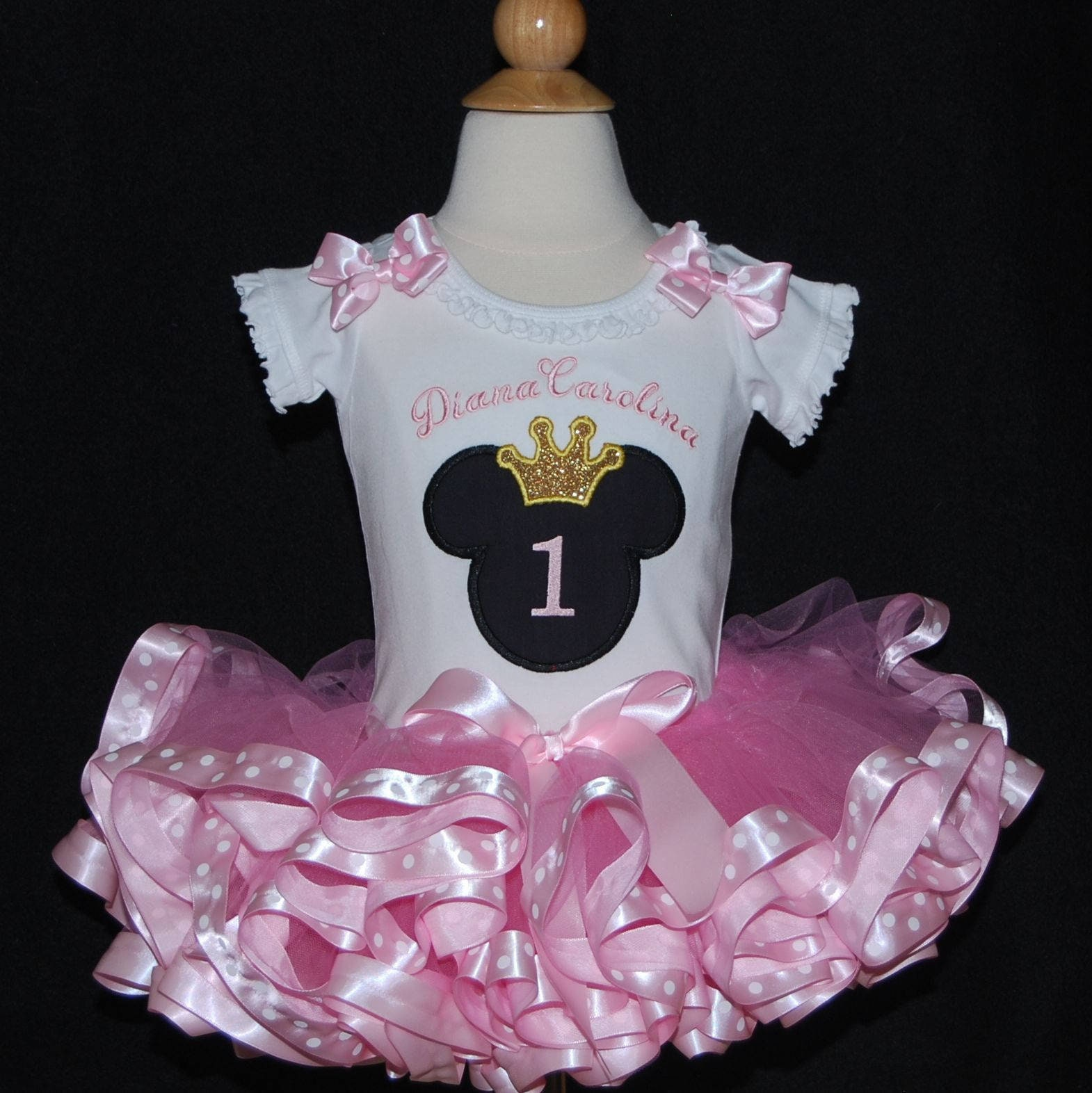 1st birthday girl outfit, Princess Minnie Mouse pink