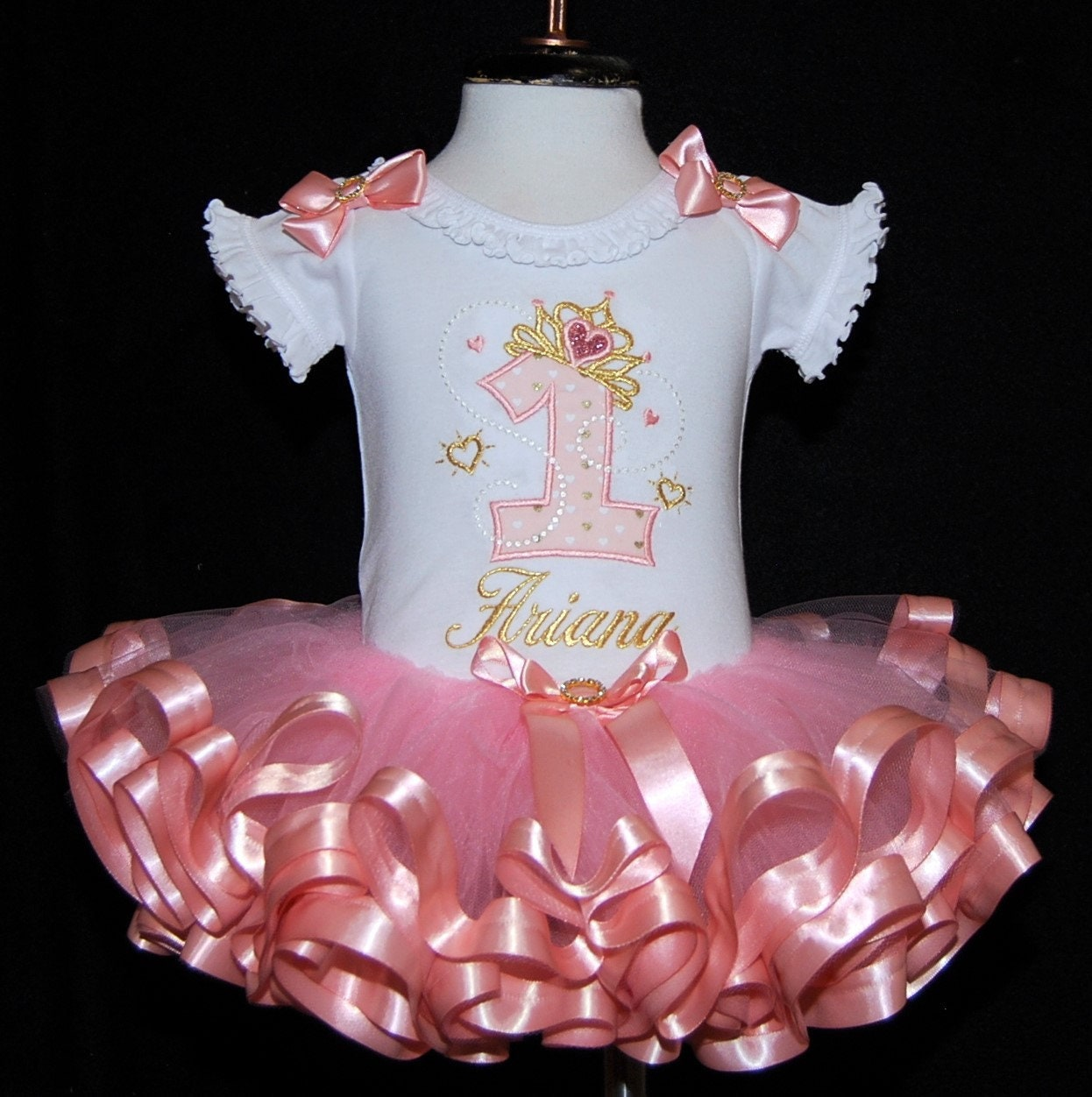1st birthday girl outfit, gold tiara princess birthday dress