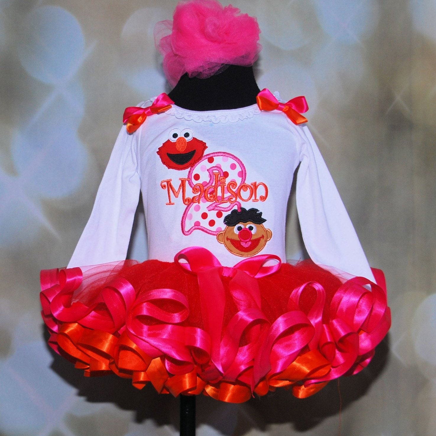 2nd birthday girl outfit, sesame street tutu outfit, Elmo and Ernie Second Birthday Tutu Outfit, cake smash set, toddler tutu, ribbon trim