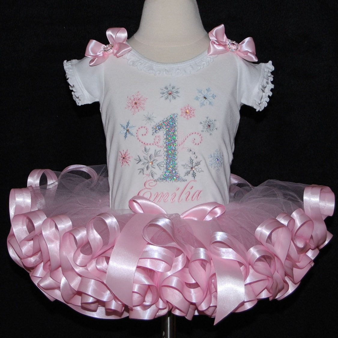 winter onederland outfit, baby girl 1st birthday outfit,1st birthday girl outfit, ribbon trimmed tutu set, toddler tutu dress, ruffle onesie