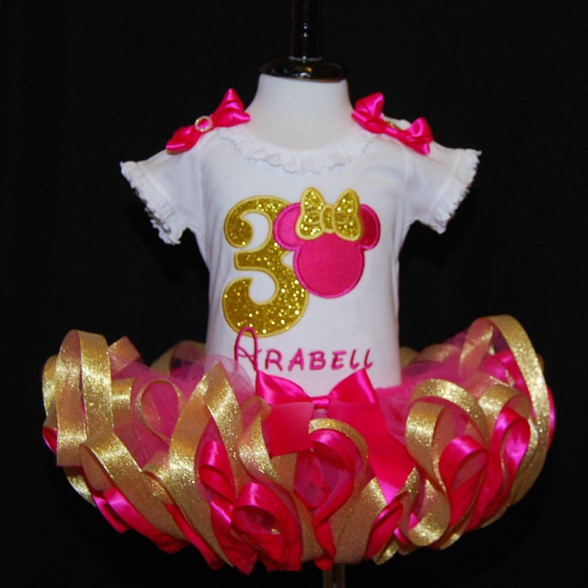 Birthday Tutu  Shocking Pink and Gold Minnie Mouse Third Birthday Tutu Outfi  2 pieces