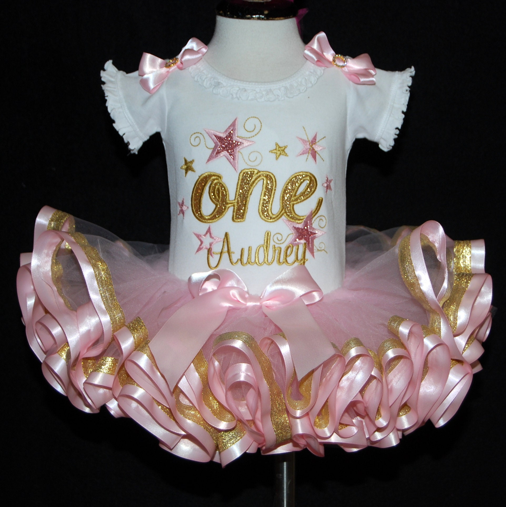 1st birthday girl outfit, glitter one with stars pink and gold