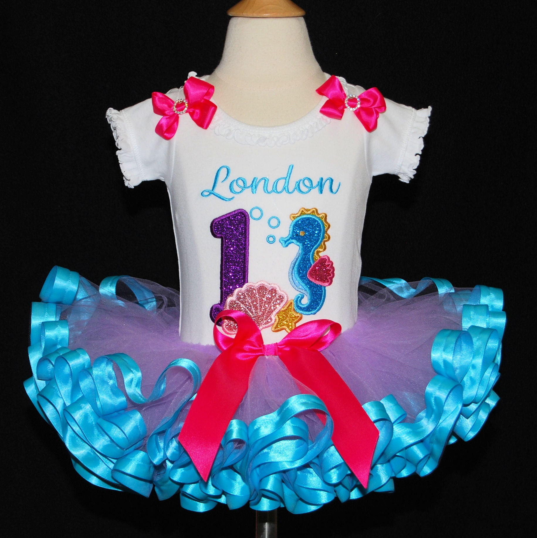 under the sea birthday outfit, first birthday tutu outfit, personalized birthday shirt with glitter sea horse  nautical theme birthday