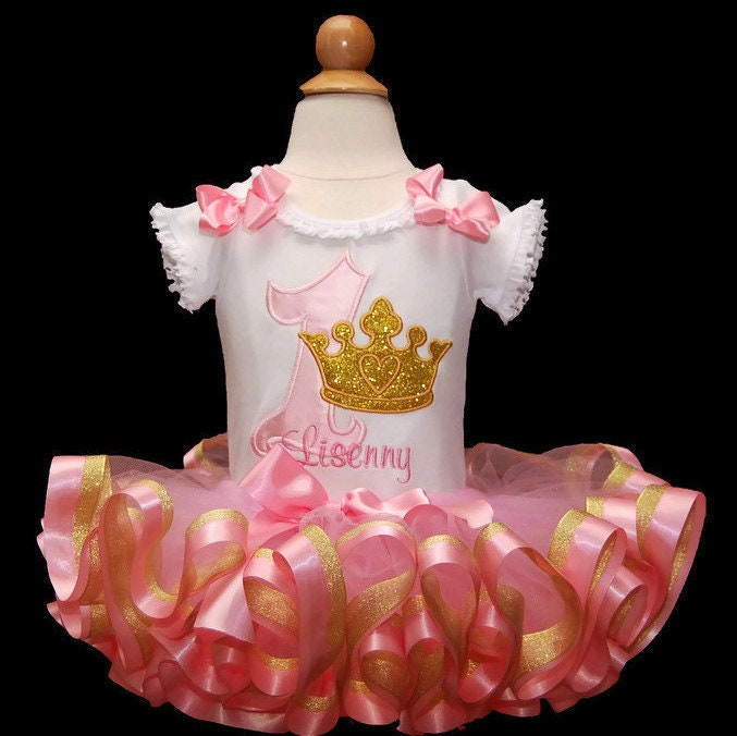 1st birthday girl outfit pink and gold glitter crown