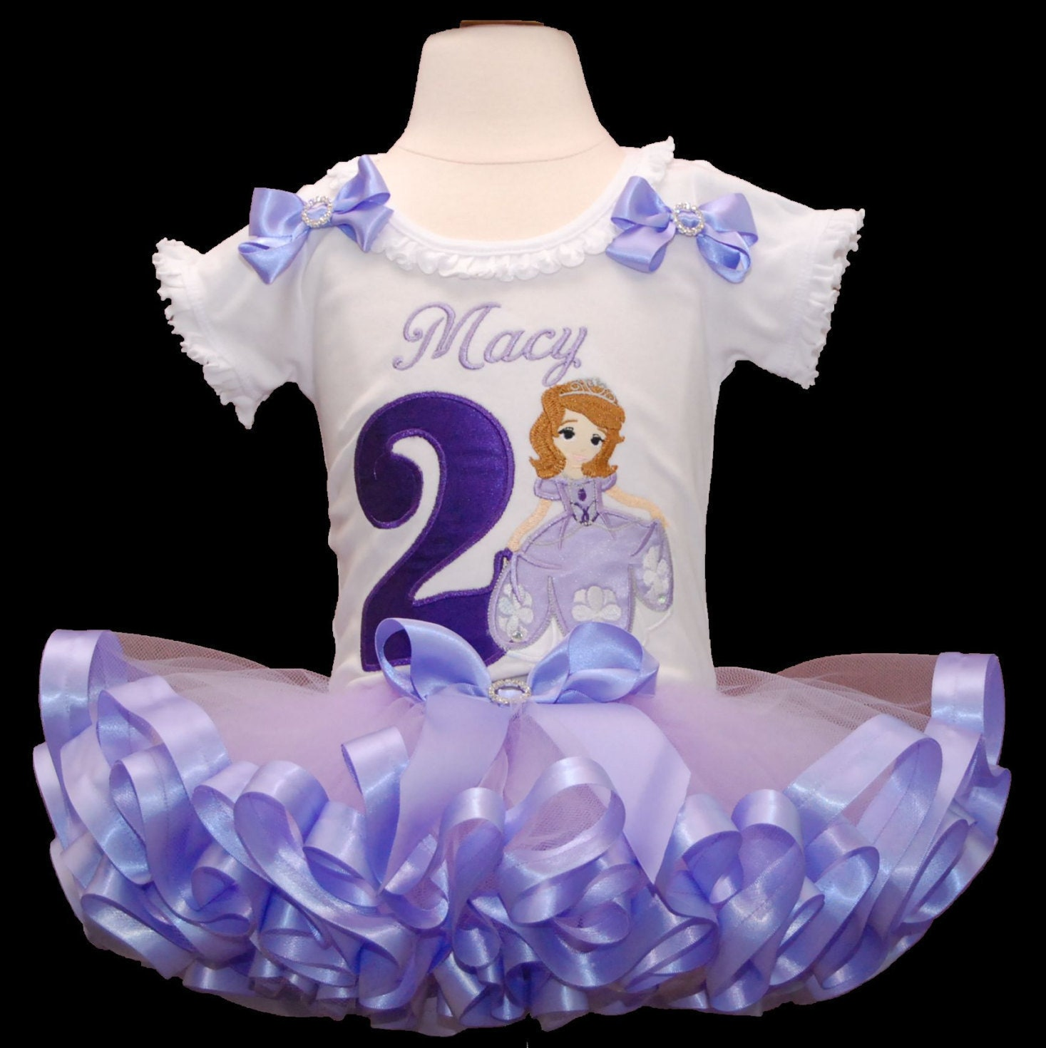 birthday tutu outfit princess sofia birthday tutu dress tutu outfit 2nd birthday tutu outffit 2 year old ribbon trimmed tutu personalized