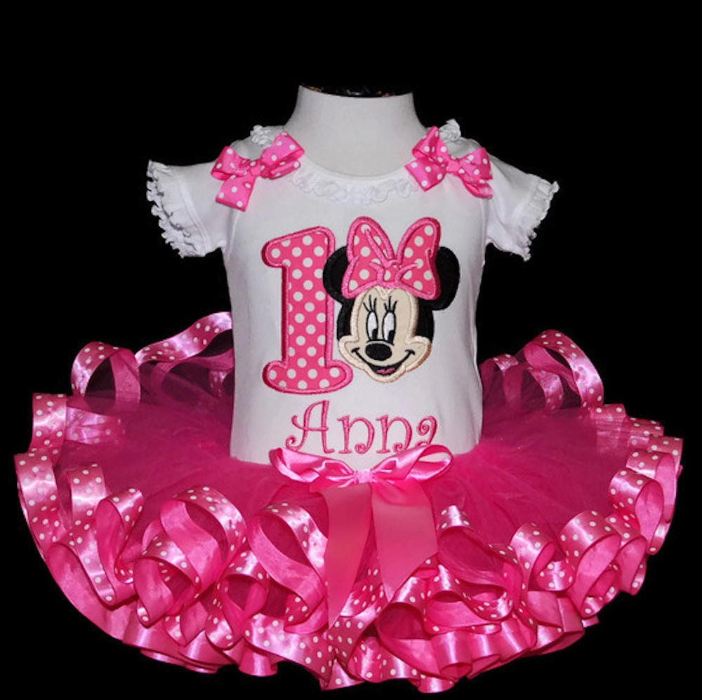 Minnie Mouse Birthday Tutu Outfit, Minnie Mouse Pink birthday tutu set ribbon trim tutu personalized 1st birthday outfit baby 1st tutu dress