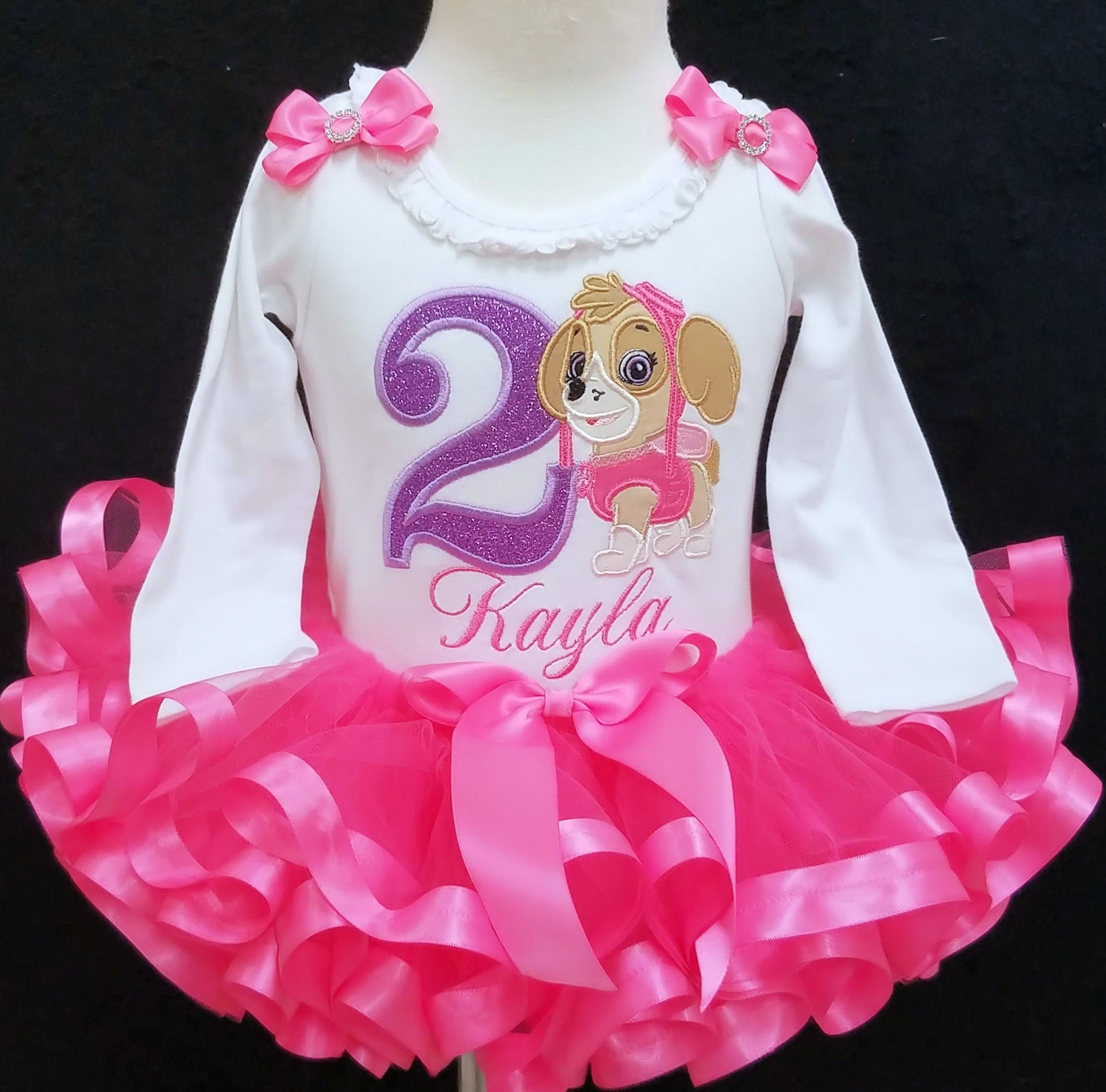 Ribbon trimmed tutu set, 2nd birthday tutu outfit, paw patrol, second birthday girl outfit, custom made personalized birthday outfit